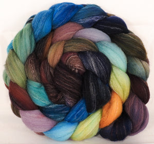 Hand dyed top for spinning -Selkie - (5.1 oz.) Targhee/silk/ bamboo ( 80/10/10)