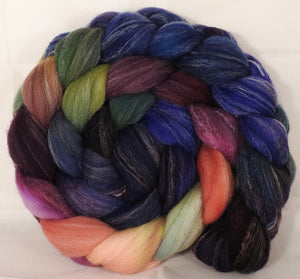 Hand dyed top for spinning -Fresh Fig- (5.1 oz.) Targhee/silk/ bamboo ( 80/10/10) - Inglenook Fibers