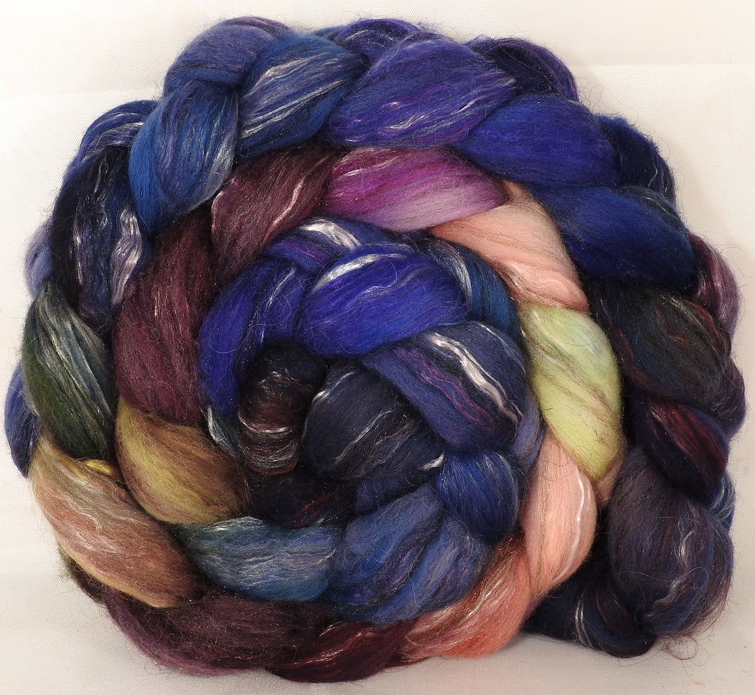 Batt in a Braid #31- Fresh Fig-( 6.2 oz. ) - Polwarth/ Mulberry Silk / Baby Alpaca / Rainbow Firestar/ Tencel( 40/25/15/10/10) - Inglenook Fibers