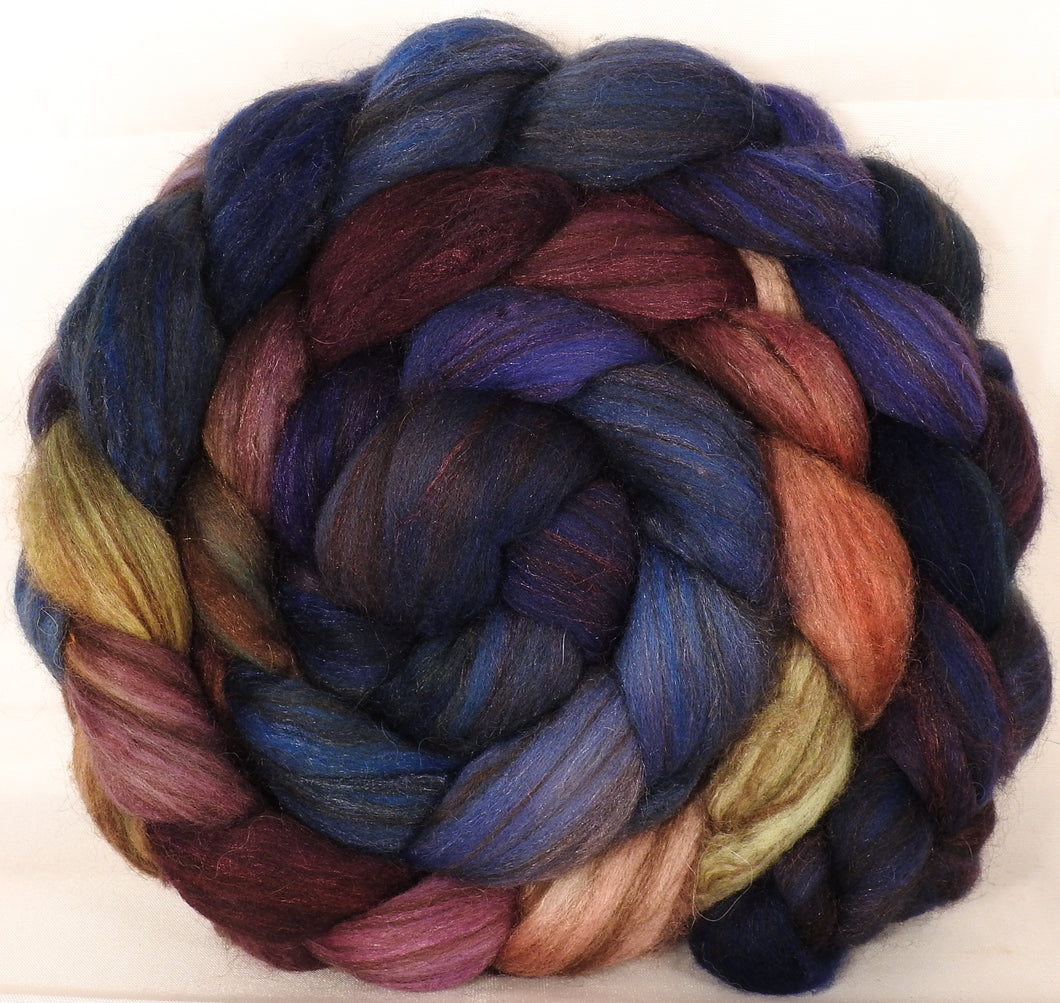 Hand dyed top for spinning -Fresh Fig- ( 5.4 oz. ) 18.5 mic merino/ camel/ brown alpaca/ mulberry silk/ (40/20/20/20)