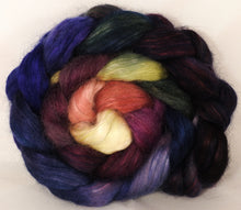 Hand-dyed wensleydale/ mulberry silk roving ( 65/35) -Fresh Fig - Inglenook Fibers