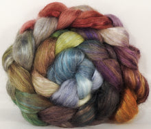 Hand-dyed wensleydale/ mulberry silk roving ( 65/35) -Pebble Mosaic- ( 5.1 oz.)