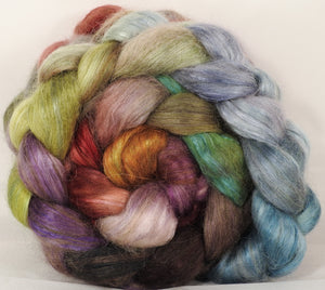 Hand-dyed wensleydale/ mulberry silk roving ( 65/35) -Pebble Mosaic- ( 5.1 oz.) - Inglenook Fibers