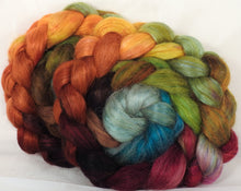 Hand-dyed wensleydale/ mulberry silk roving ( 65/35) -Farm Stand- ( 5.35 oz.)