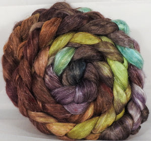 Hand dyed Tussah Silk / flax roving -Bronze Oak-  ( 65/35)-  (5 oz.)