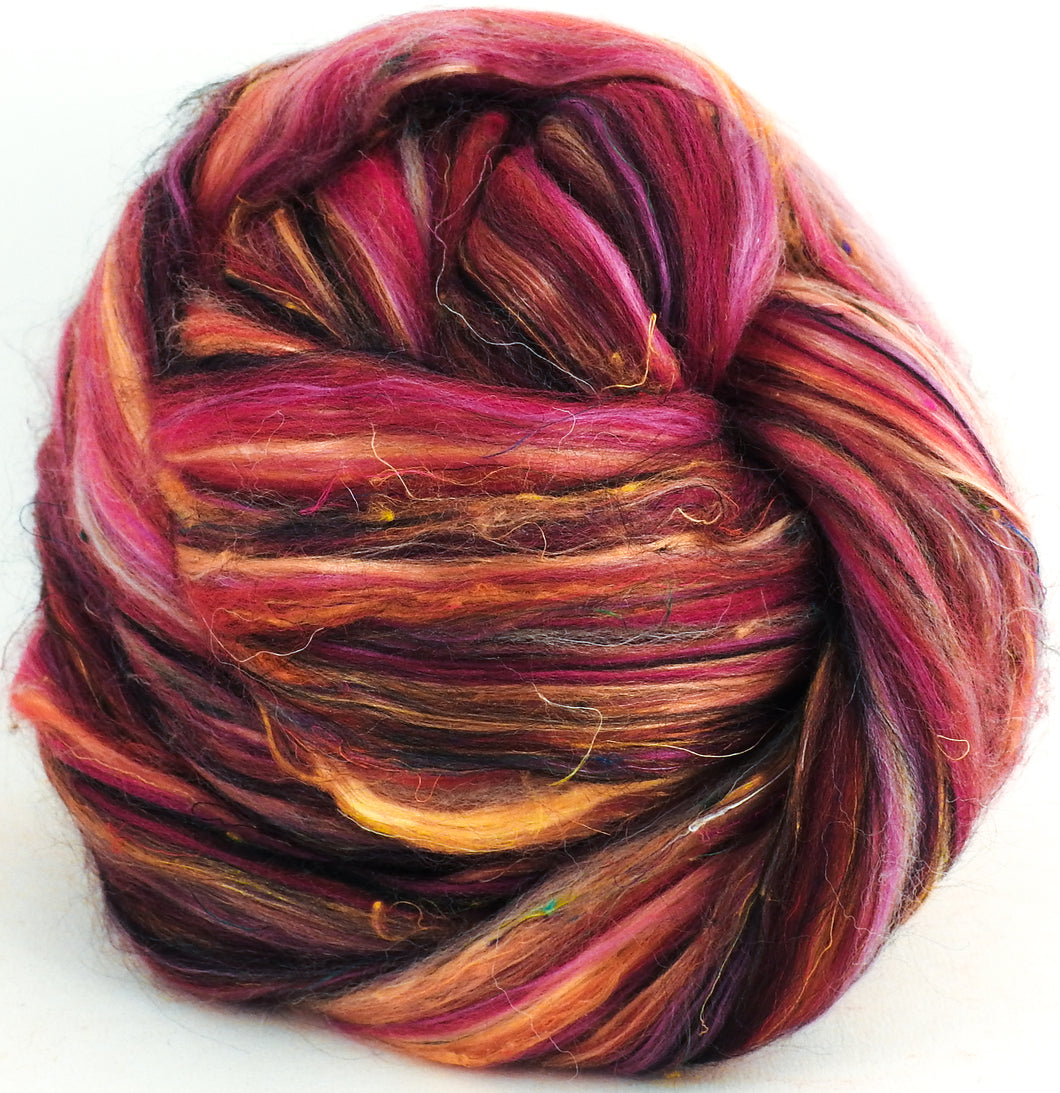 Aynsley Teacup - Custom Blended Top - Superfine Merino/Mulberry Silk Bamboo/Sari Silk/Tweed Blend (40/25/15/10/10)