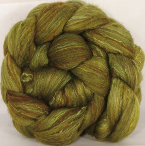 Batt in a Braid #7-Asparagus- (5.2 oz.)Polwarth/ Manx / Mulberry silk/ Firestar (30/30/30/10) - Inglenook Fibers