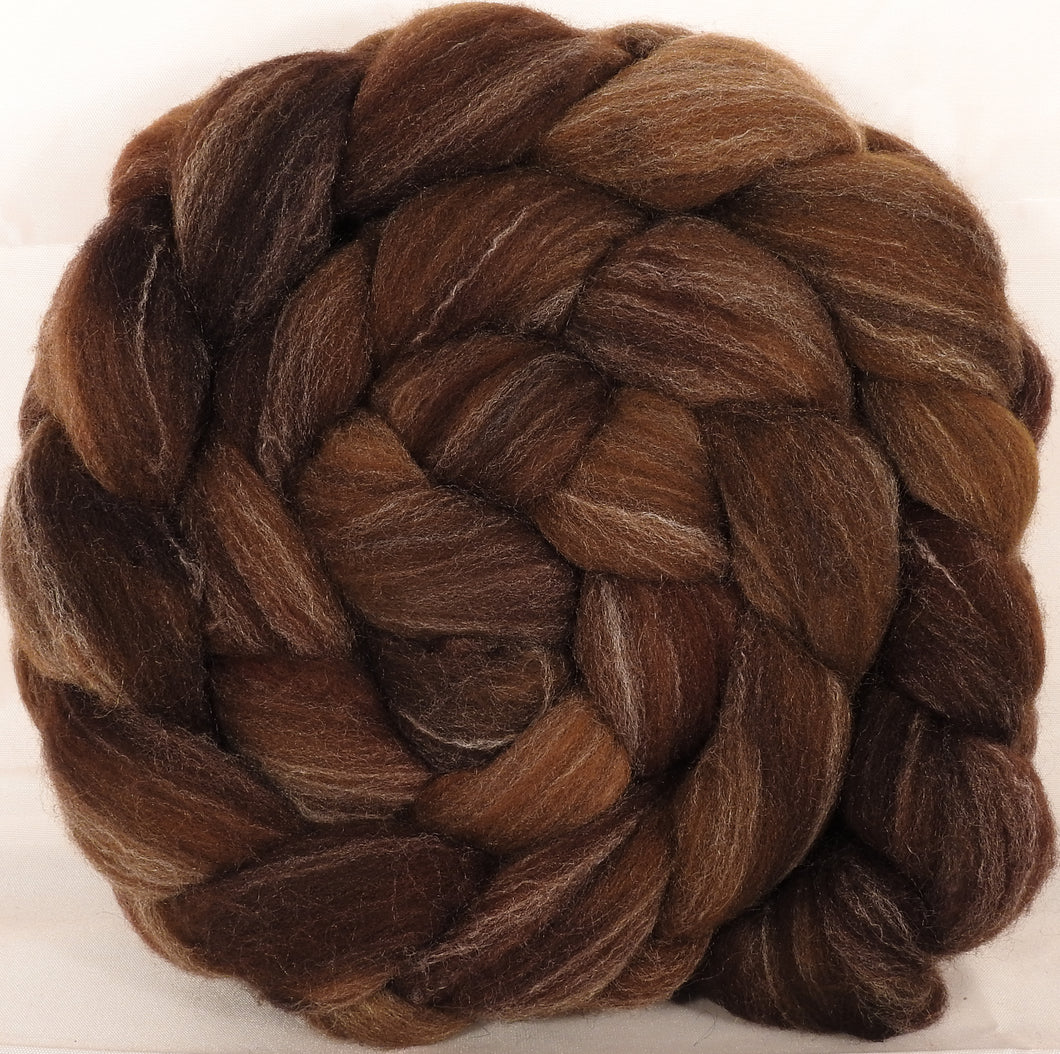 Hand dyed top for spinning -Acorn- (5.2 oz.) Targhee/silk/ bamboo ( 80/10/10)