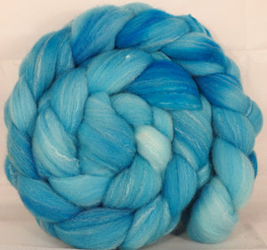 Hand dyed top for spinning -Iceberg- (5.5 oz.) Targhee/silk/ bamboo ( 80/10/10) - Inglenook Fibers