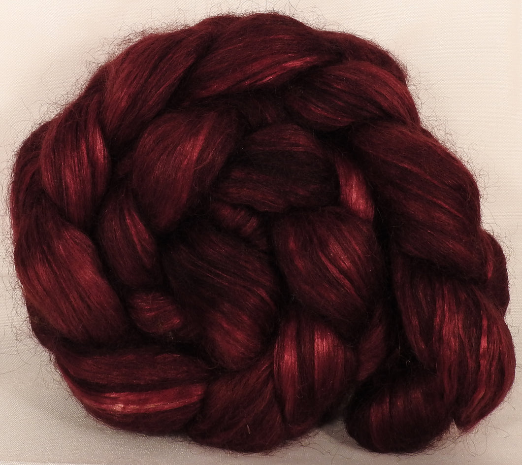 Wensleydale/ mulberry silk roving ( 65/35) -Pomegranate- (5.3 oz.)
