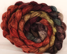 Hand dyed yak/ mulberry silk top -Burning Bush - yak /silk ( 50/50) - Inglenook Fibers