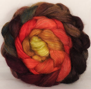 Wensleydale/ mulberry silk roving ( 65/35) -Burning Bush- (6.5 oz.) - Inglenook Fibers
