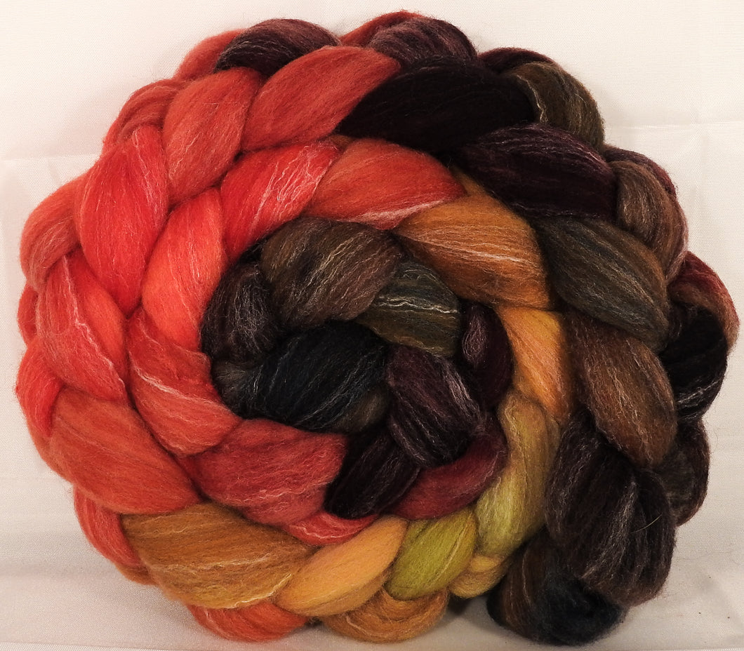 Hand dyed top for spinning -Burning Bush- (5.3 oz.) Targhee/silk/ bamboo ( 80/10/10) - Inglenook Fibers