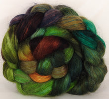 Hand-dyed wensleydale/ mulberry silk roving ( 65/35) -Mossy- ( 5.3 oz.) - Inglenook Fibers