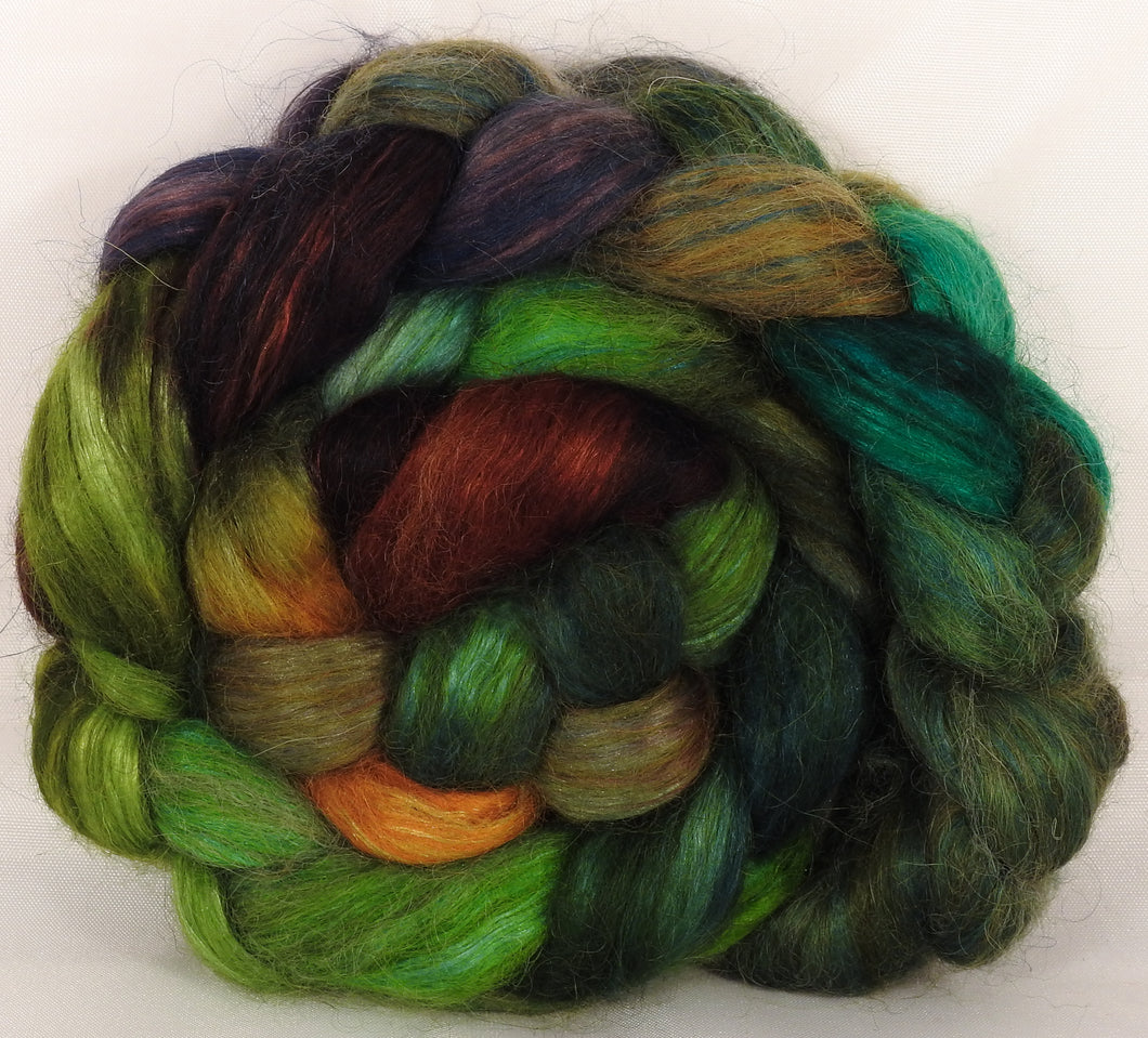 Hand-dyed wensleydale/ mulberry silk roving ( 65/35) -Mossy- ( 5.3 oz.)