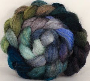 Hand-dyed wensleydale/ mulberry silk roving ( 65/35) -Tempest - Inglenook Fibers