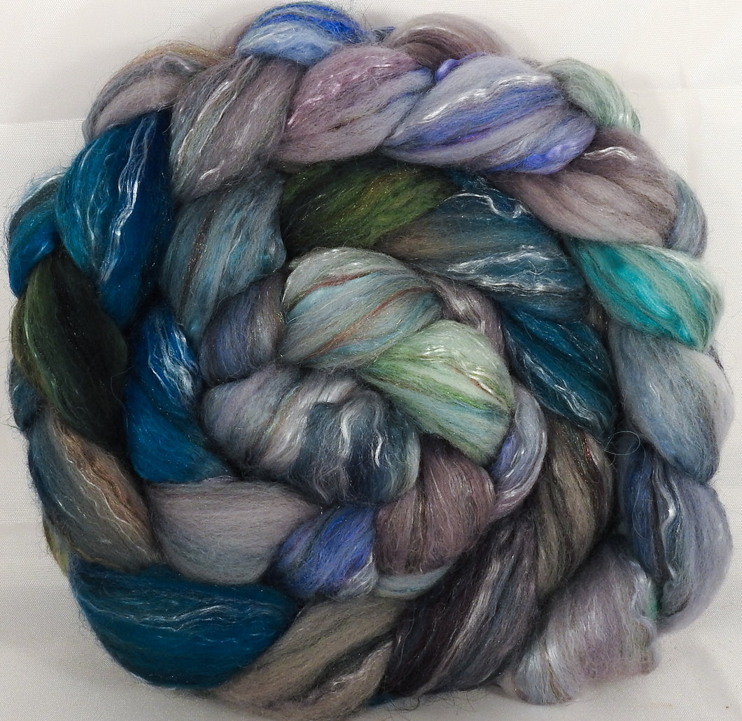 Batt in a Braid #31- Tempest -( 6.2 oz. ) - Polwarth/ Mulberry Silk / Baby Alpaca / Rainbow Firestar/ Tencel( 40/25/15/10/10)