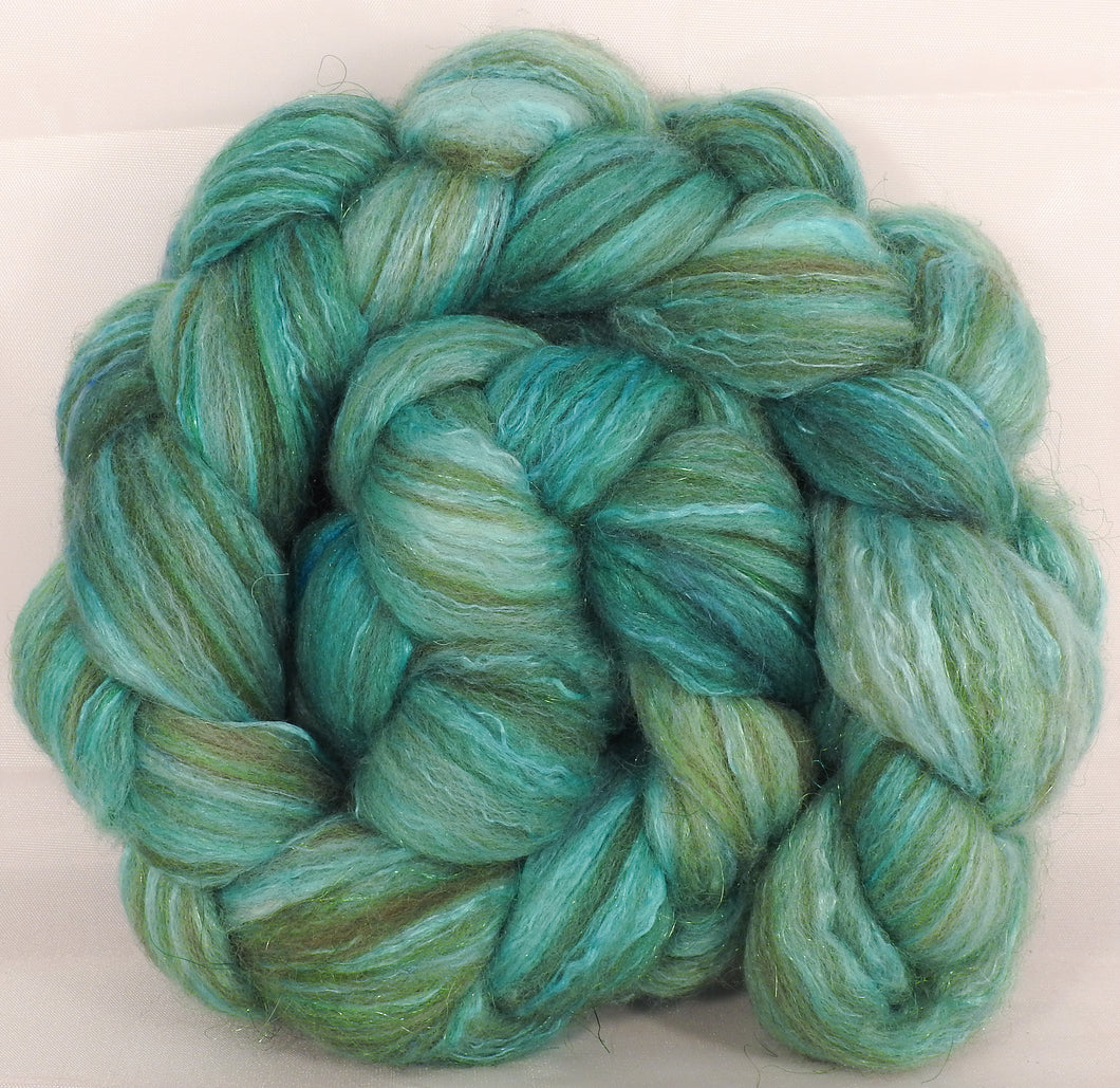Batt in a Braid #7-Verdigris- (4.9 oz.)Polwarth/ Manx / Mulberry silk/ Firestar (30/30/30/10) - Inglenook Fibers