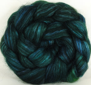 Wensleydale/ mulberry silk roving ( 65/35) -Juniper- (5.3 oz.)