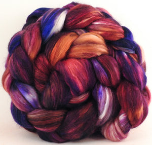 Batt in a Braid #41 -Sticky Fingers - (4.6 oz.) Llama / Merino ( 18 mic.)/ Mulberry silk/ Stellina (40/30/25/5) - Inglenook Fibers