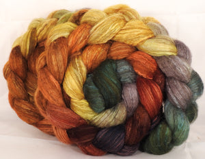 Mixed UK Bfl/ Tussah Silk  ( 75/25) - Gourds- 5.3 oz. - Inglenook Fibers