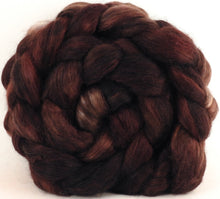 Hand-dyed wensleydale/ mulberry silk roving (65/35) - Coffee Grounds - Inglenook Fibers