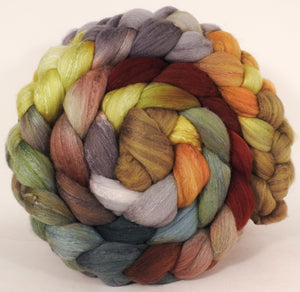 Hand dyed top for spinning -Winter Beech- (5.4 oz) Organic Polwarth / Tussah silk (80/20)