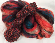 Sun-dried Tomatoes - Custom Blended Top- Corriedale/ Superfine Merino/ Mulberry and Peduncle Silk/ FLAX (40/25/25/10) - Inglenook Fibers