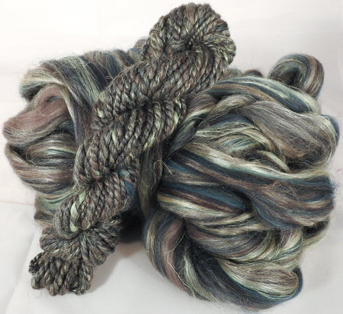 Eucalyptus - Custom Blended Top- Corriedale/ Superfine Merino/Peduncle and Tussah Silk/ FLAX (40/25/25/10) - Inglenook Fibers