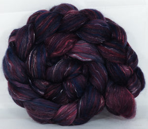 Batt in a Braid #31- Banshee -( 5.7 oz. ) - Polwarth/ Mulberry Silk / Baby Alpaca / Rainbow Firestar/ Tencel( 40/25/15/10/10)