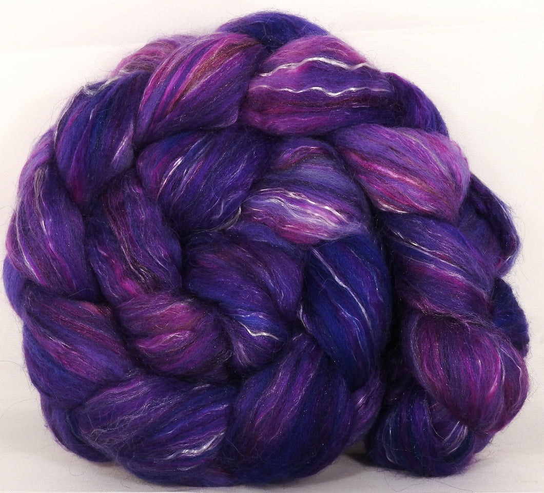 Batt in a Braid #31-So Very Violet -( 5.5 oz. ) - Polwarth/ Mulberry Silk / Baby Alpaca / Rainbow Firestar/ Tencel( 40/25/15/10/10) - Inglenook Fibers