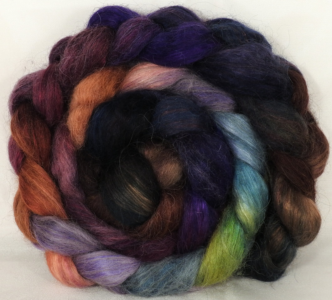 Hand-dyed wensleydale/ mulberry silk roving ( 65/35) -Brocade - ( 6.3 oz.) - Inglenook Fibers