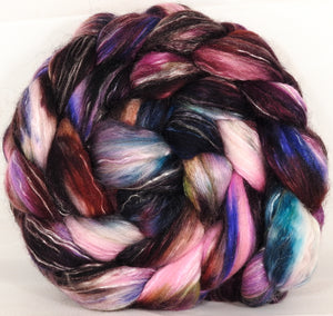 Batt in a Braid #31-Fragile-2 -( 6.6 oz. ) - Polwarth/ Mulberry Silk / Baby Alpaca / Rainbow Firestar/ Tencel( 40/25/15/10/10) - Inglenook Fibers