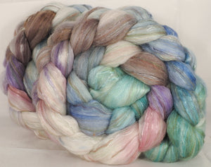 Batt in a Braid #31- Snow Flurries - (5.5 oz. ) Polwarth/ Mulberry Silk / Baby Alpaca / Rainbow Firestar/ Tencel( 40/25/15/10/10) - Inglenook Fibers