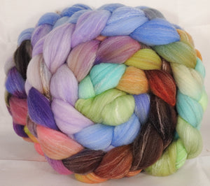 Hand dyed top for spinning -Glass Ornaments- (5.2 oz.) Targhee/silk/ bamboo ( 80/10/10) - Inglenook Fibers