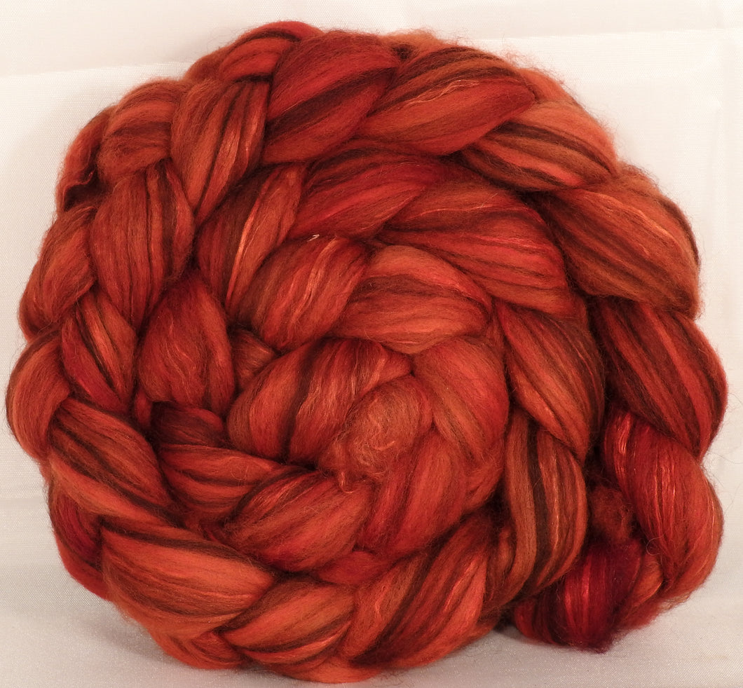Hand dyed top for spinning - Holly Berry - (5.2 oz.) 18.5 mic merino/ camel/ brown alpaca/ mulberry silk/ (40/20/20/20) - Inglenook Fibers