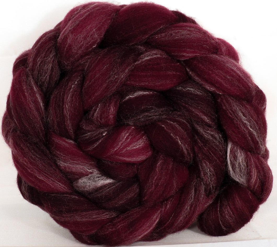 Hand dyed top for spinning - Claret - (5.3 oz.) Targhee/silk/ bamboo ( 80/10/10)