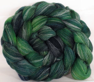 Hand dyed top for spinning - Juniper - (5.2 oz.) Targhee/silk/ bamboo ( 80/10/10) - Inglenook Fibers