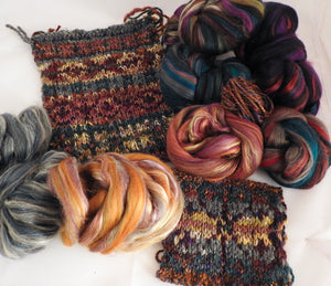 Sun-dried Tomatoes - Custom Blended Top- Corriedale/ Superfine Merino/ Mulberry and Peduncle Silk/ FLAX (40/25/25/10)