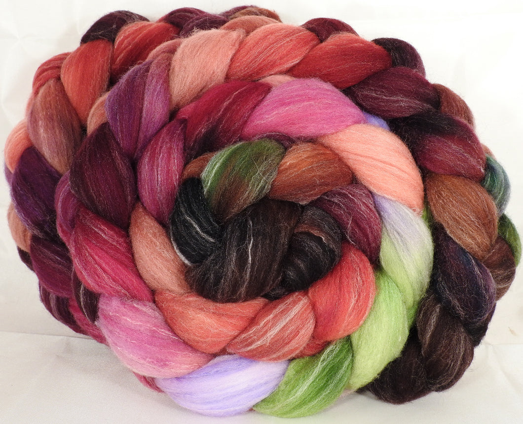 Hand dyed top for spinning - Plum Pudding - (5.4 oz.) Targhee/silk/ bamboo ( 80/10/10) - Inglenook Fibers