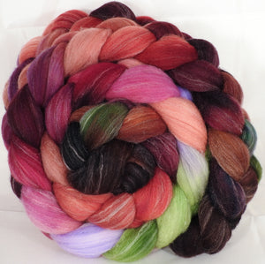 Hand dyed top for spinning - Plum Pudding - (5.4 oz.) Targhee/silk/ bamboo ( 80/10/10)