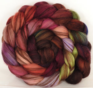 Hand dyed top for spinning - Plum Pudding - 18.5 mic merino/ camel/ brown alpaca/ mulberry silk/ (40/20/20/20)
