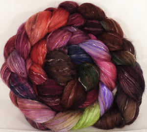 Batt in a Braid #31- Plum Pudding - (6.5 oz) Polwarth/ Mulberry Silk / Baby Alpaca / Rainbow Firestar/ Tencel( 40/25/15/10/10) - Inglenook Fibers