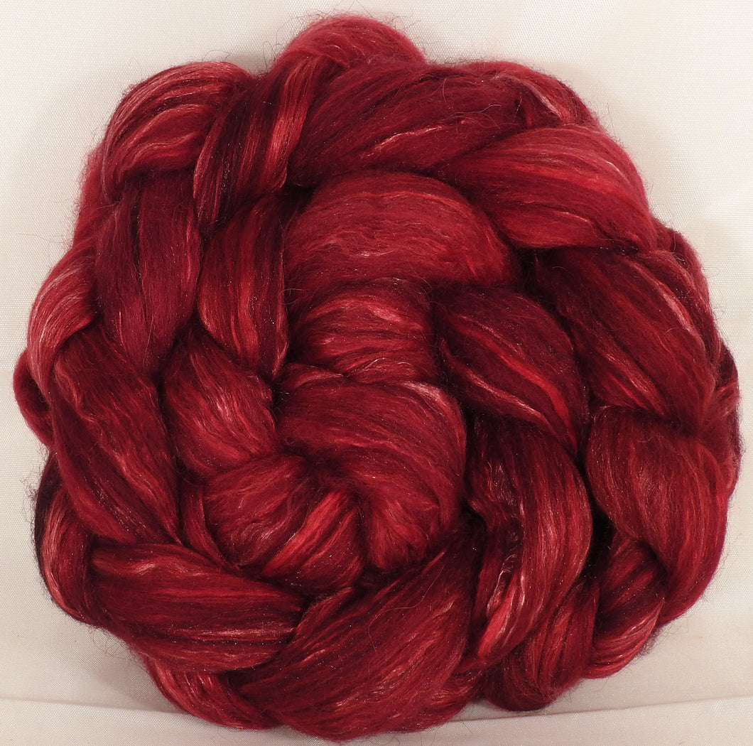 Batt in a Braid #31-Crimson-( 5.5 oz. ) - Polwarth/ Mulberry Silk / Baby Alpaca / Rainbow Firestar/ Tencel( 40/25/15/10/10)