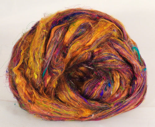 100% Sari Silk Top- Yellow Ochre- 1.5 oz. - Inglenook Fibers