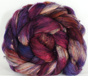 Batt in a Braid #39-SARI- 2 -(5.4 oz.)Falkland Merino/ Mulberry Silk / Sari Silk (50/25/25) - Inglenook Fibers