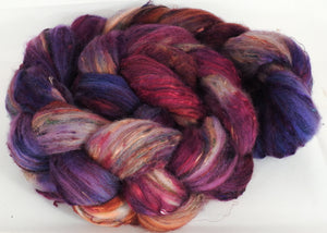 Batt in a Braid #39-SARI- 2 -(5.4 oz.)Falkland Merino/ Mulberry Silk / Sari Silk (50/25/25)
