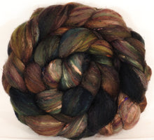 Batt in a Braid #39-SARI- 12 -(5.3 oz.)Falkland Merino/ Mulberry Silk / Sari Silk (50/25/25) - Inglenook Fibers