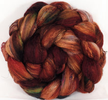 Batt in a Braid #39-SARI- 5 -(4.7 oz.)Falkland Merino/ Mulberry Silk / Sari Silk (50/25/25) - Inglenook Fibers
