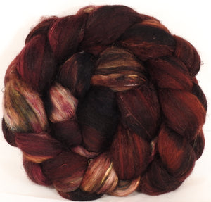 Batt in a Braid #39-SARI- 17 -(4.6 oz.)Falkland Merino/ Mulberry Silk / Sari Silk (50/25/25) - Inglenook Fibers